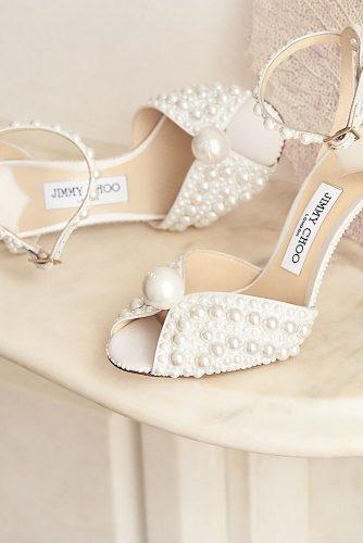 white wedding shoes with heels pearls jimmychoo