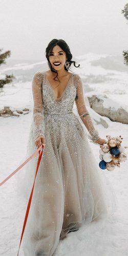 winter wedding dresses outfits a line with illusion long sleeves v neckline sequins silver arielechapman