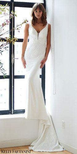 kelly faetanini 2019 wedding dresses mermaid simple wedding dress wide straps lace gown Lisette