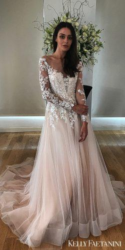 kelly faetanini wedding dresses blush pink tulle long sleeve natural gown alba