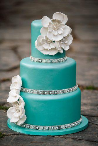 tiffany blue wedding decorations cake with flowers pearls and crystals claire marika photography