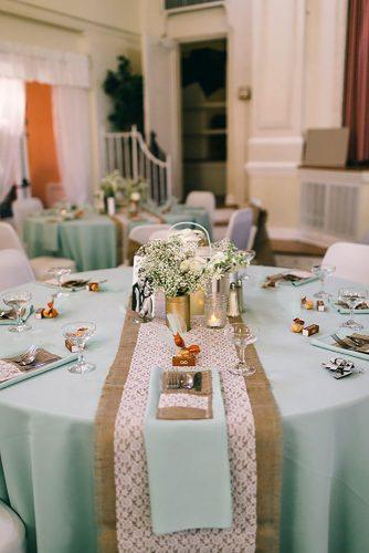 tiffany blue wedding decorations for rustic reception with lace burlap and baby breath jennifer martin photography