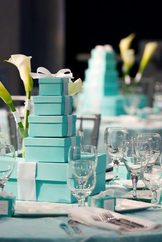 tiffany blue wedding decorations high stack of boxes with white ribbons centerpiece ric mershon photographers