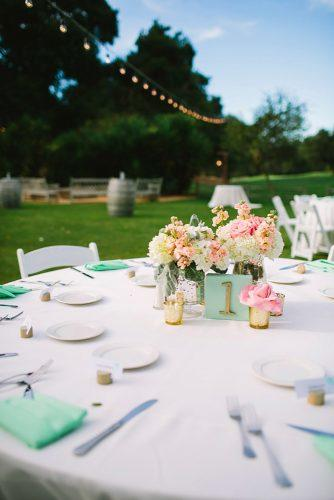 tiffany blue wedding decorations outdoor reception white cloth table rustic tablenumber lets frolic together