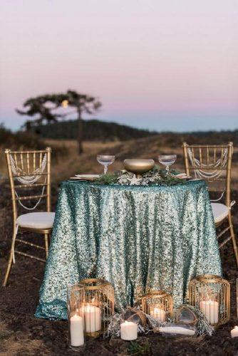 tiffany blue wedding decorations outdoor table with glitter tablecloth and gold details jones photography