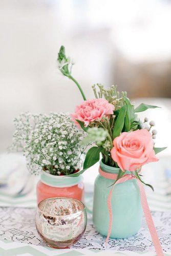 tiffany blue wedding decorations rustic centerpieces with roses and baby breath in jars nadia meli