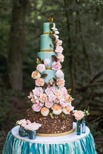 tiffany blue wedding dessert tall cake with bright flowers photography by anna marie