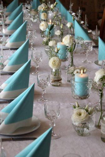 tiffany blue wedding long table white with flowers and candles and tablecloth giftbyfulyaevents