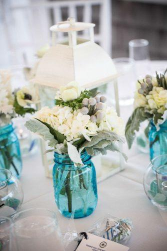 tiffany blue wedding white lantern with white flowers in mason jars zevfisher