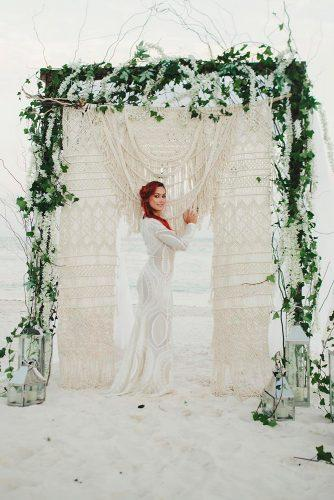 wedding ceremony decorations bohemian beach arch with greenery and macrame novalovesweddings
