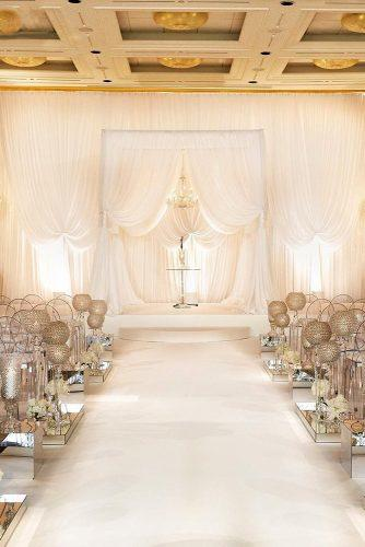 wedding ceremony decorations elegant ceremony with white cloth and crystals decor KingenSmith