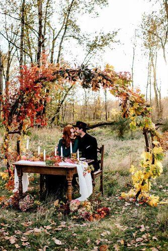 wedding ceremony decorations fall round arch with leaves onecuriousdream