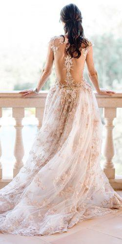 a line wedding dresses illusion lace back tattoo effect with floral galialahav