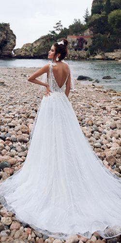 a line wedding dresses low back with bow train anna sposa