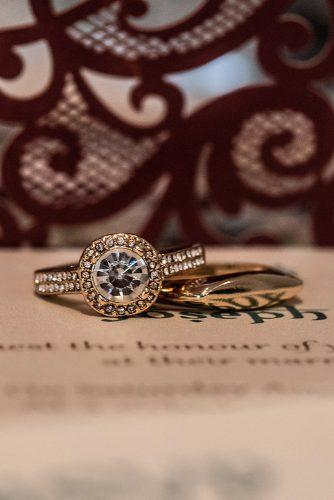 arabic wedding gold rings for groom and bride with round shaped stone madi photograph