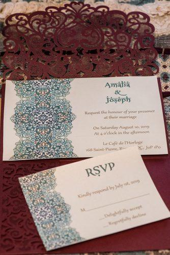arabic wedding invintations with blue oriental patterns madi photograph