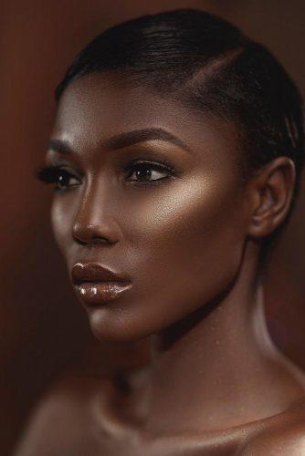 black bride makeup bronze highlighter black eyeliner joyadenuga