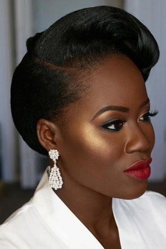 black bride makeup bronze skin gols eyeshadows red lips joyadenuga