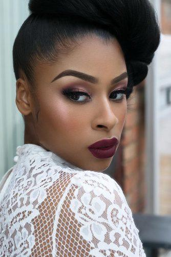 black bride makeup burgundy matte lips and smoky eyeshadows joyadenuga