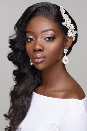 black bride makeup elegant pink with silver glitter black eyeliner and long lashes joyadenuga