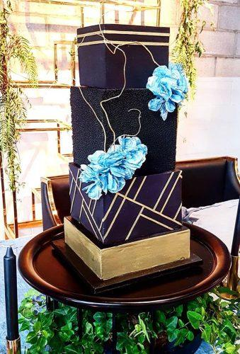 black wedding cake black cake blue flowers gloriouscakesbris