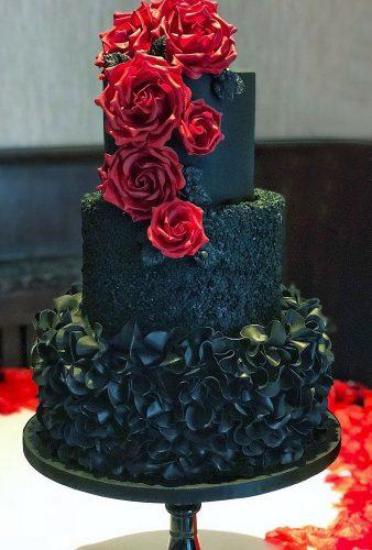 black wedding cake black cake red rose kimmycakes ccd