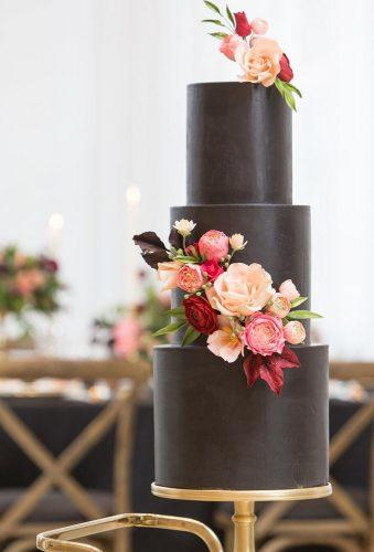 black wedding cake black cake with flower mistywinterphotography