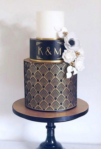 black wedding cake black white cake with gold kimmycakes ccd