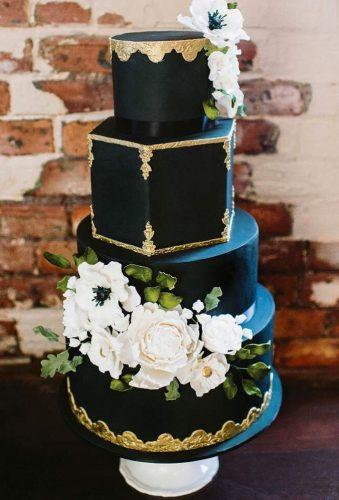 black wedding cake cake with white flower cakegirls mtl