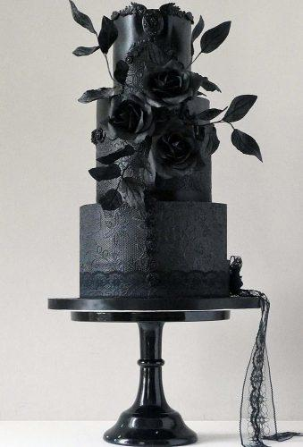 black wedding cake ckae with black flower havesomecakeuk