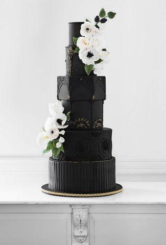 black wedding cake modern cake white flower nadiaandco