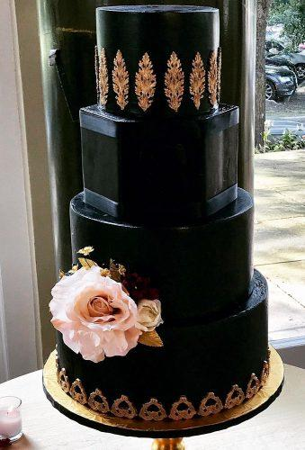 black wedding cake stylish cake with gold beautifulbitesbakeshoppe