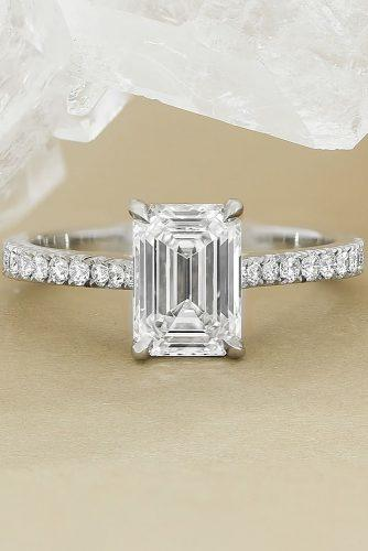 emerald cut engagement rings classic pave band white gold