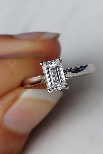 emerald cut engagement rings classic simple white gold solitaire diamond