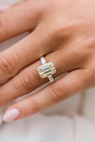 emerald cut engagement rings classic yellow gold ring solitaire diamond