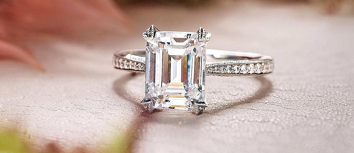 emerald cut engagement rings diamond gold solitaire tacori