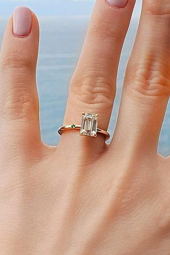 emerald cut engagement rings simple classic rose gold solitaire diamond