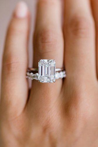 emerald cut engagement rings solitaire simple classic white gold wedding set