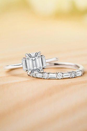emerald cut engagement rings wedding set white gold three stones diamond