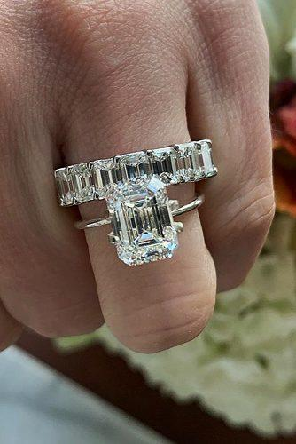 emerald cut engagement rings white gold classic solitaire diamond wedding set