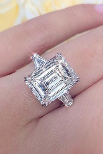 emerald cut engagement rings white gold modern diamond ring