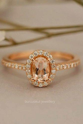 engagement ring oval cut halo gemstone pave band vintage