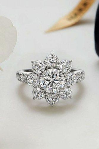 engagement ring round cut diamond halo snowflake white gold