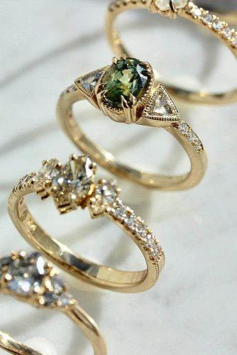 engagement ring three stones gold modern pave band