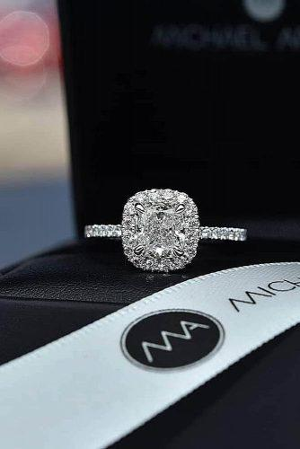 engagement ring trends 2019 diamond halo pave band white gold