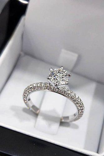 engagement-ring trends 2019 pave band solitaire simple diamond
