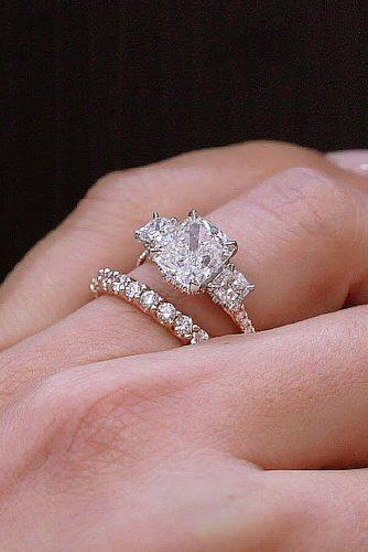 engagement ring wedding set three stones emerald cut-rose gold diamonds