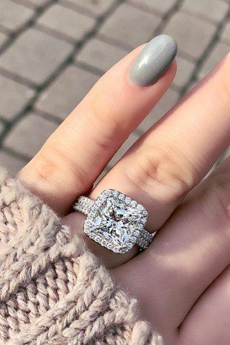 princess cut engagement rings halo pave band diamond white gold