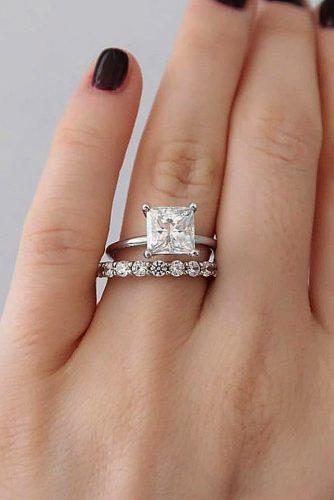 princess cut engagement rings solitaire white gold diamond set