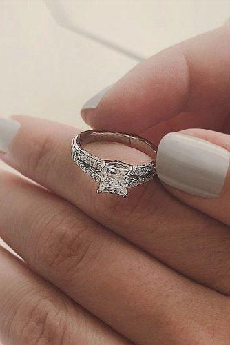princess cut engagement rings split pave band white gold solitaire